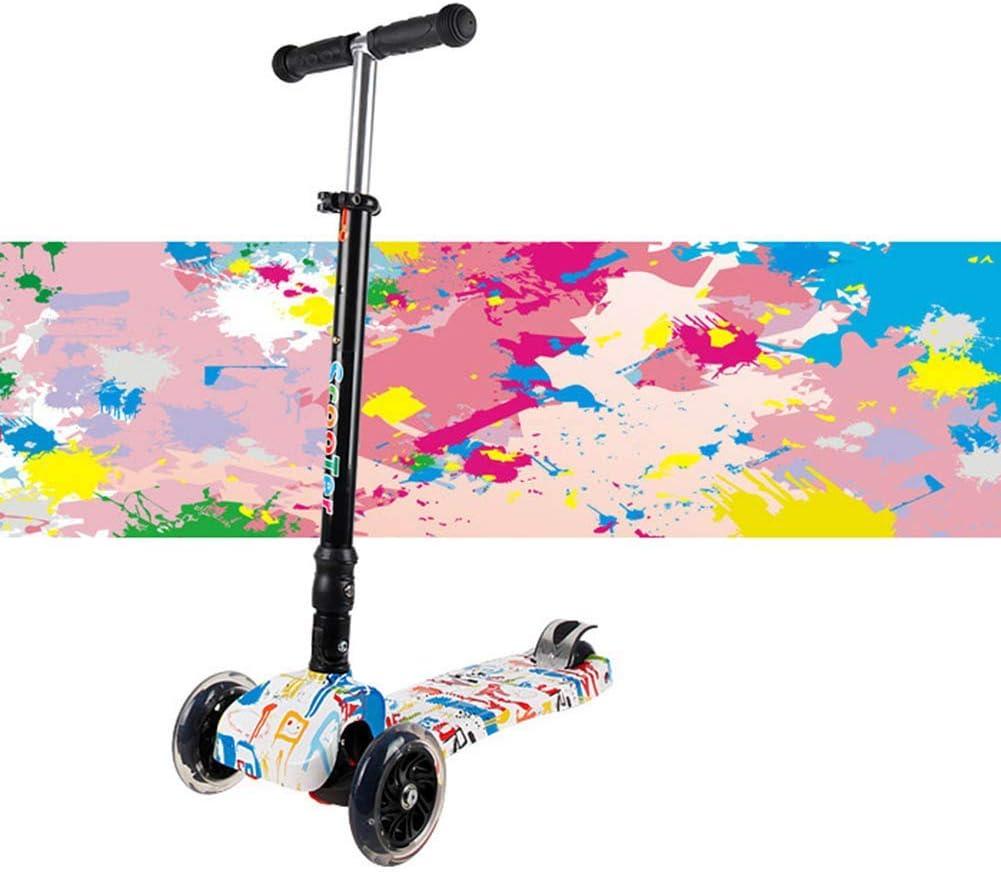 Kyman Urban Scooter, 3 Ruedas Plegable Niños Scooter - Luz LED hasta Ruedas - de niños de 2 años en adelante - Apoyos 143.3lbs Peso - Diseño Plegable (Color : 4)