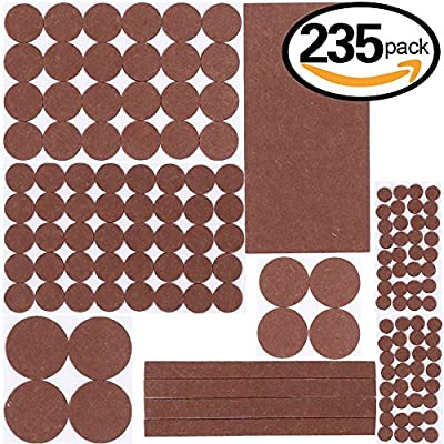 Swpeet 235 Pcs Huge Quality Furniture Pads Best for Hard Surfaces, Wood Floor Protectors Felt Pads Furniture Feet ALL SIZES - Protect Your Hardwood & Laminate Flooring