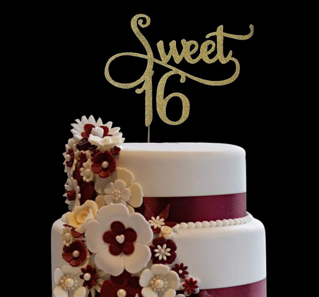 16th Party Cake Decor Glittery Gold Happy 16th Birthday Cake Topper