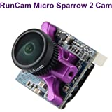 RunCam FPV Camera Micro Sparrow 2 Camera Focal Length 2.1mm Lens 700TVL CMOS OSD FOV 150 Degree 4:3 FPV Mini Camera NTSC PAL Purple for FPV Racing Drone