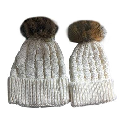 Minzhi 2PCS Parent Child Pompom Knit Hat Mother Baby Daughter Son Warm Faux Fur Ball Cap