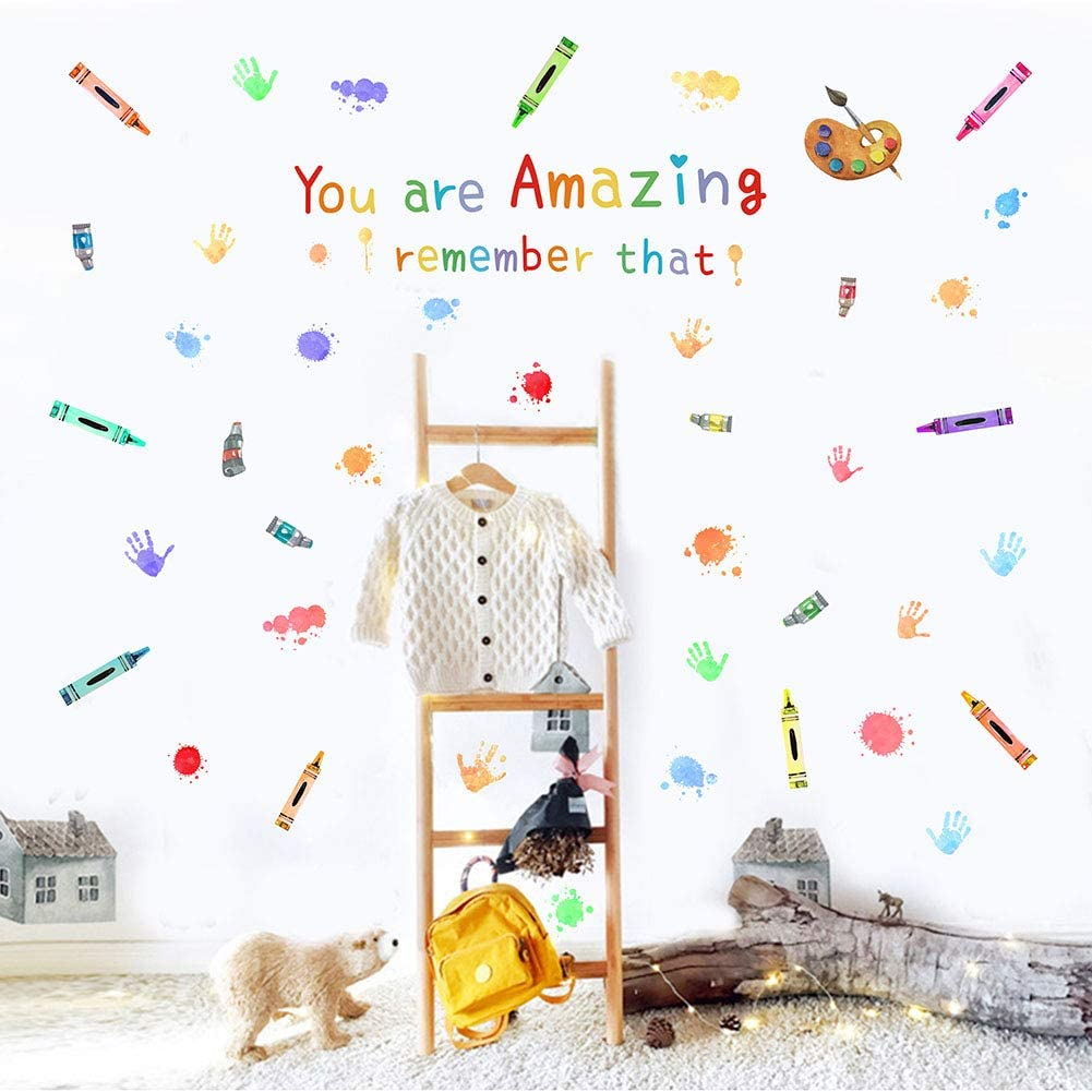 Colorful Inspirational Lettering Quote-You Are Amazing Remember That Wall Decal, Watercolor School Theme Pen,Crayon, Drawing Board, Pigment, Hand Print Wall Stickers for Classroom Kids Room Nursery Decoration