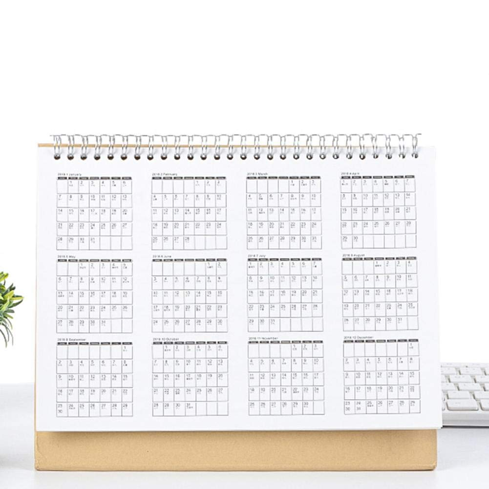 iShine Calendrier de Bureau Juillet 2018 d/écembre 2019 Planificateur Calendrier de Table Calendrier Flip-Desk-Top Stand Up Office Table Planner