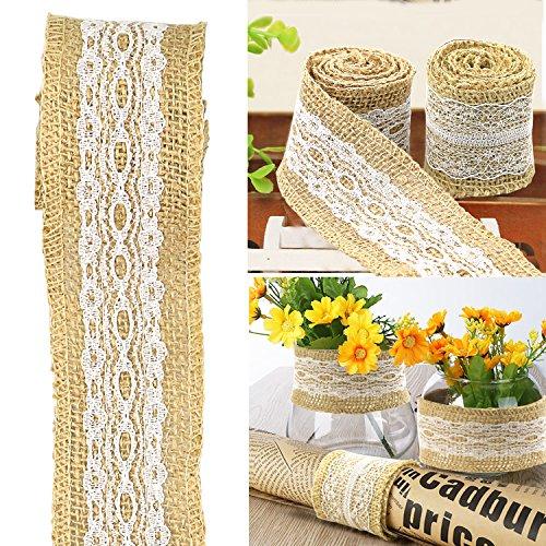 01 Cinta de encaje blanco 2 rollos vintage floral encaje para novia boda encaje para decoraci/ón manualidades 10 yardas//rollo