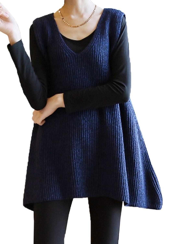 Toyobuy Women's Sleeveless V-neck Loose Pullover Knitted Waistcoat