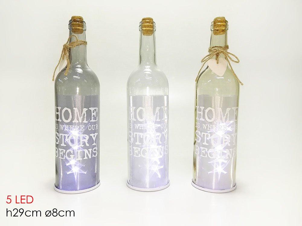 girm® - ge601103 Botella luminosa con letras blancas 5 LED H ...
