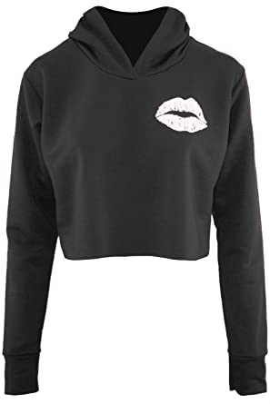 Be Jealous Womens Long Sleeve Cute Lips Fleece Oversized Ladies Sweatshirt  Hooded Crop Top UK Size 6-12  Amazon.co.uk  Clothing be69af0a8