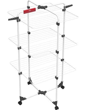 Vileda Mixer 3 Tendedero vertical de torre de acero, 30 metros de espacio de tendido