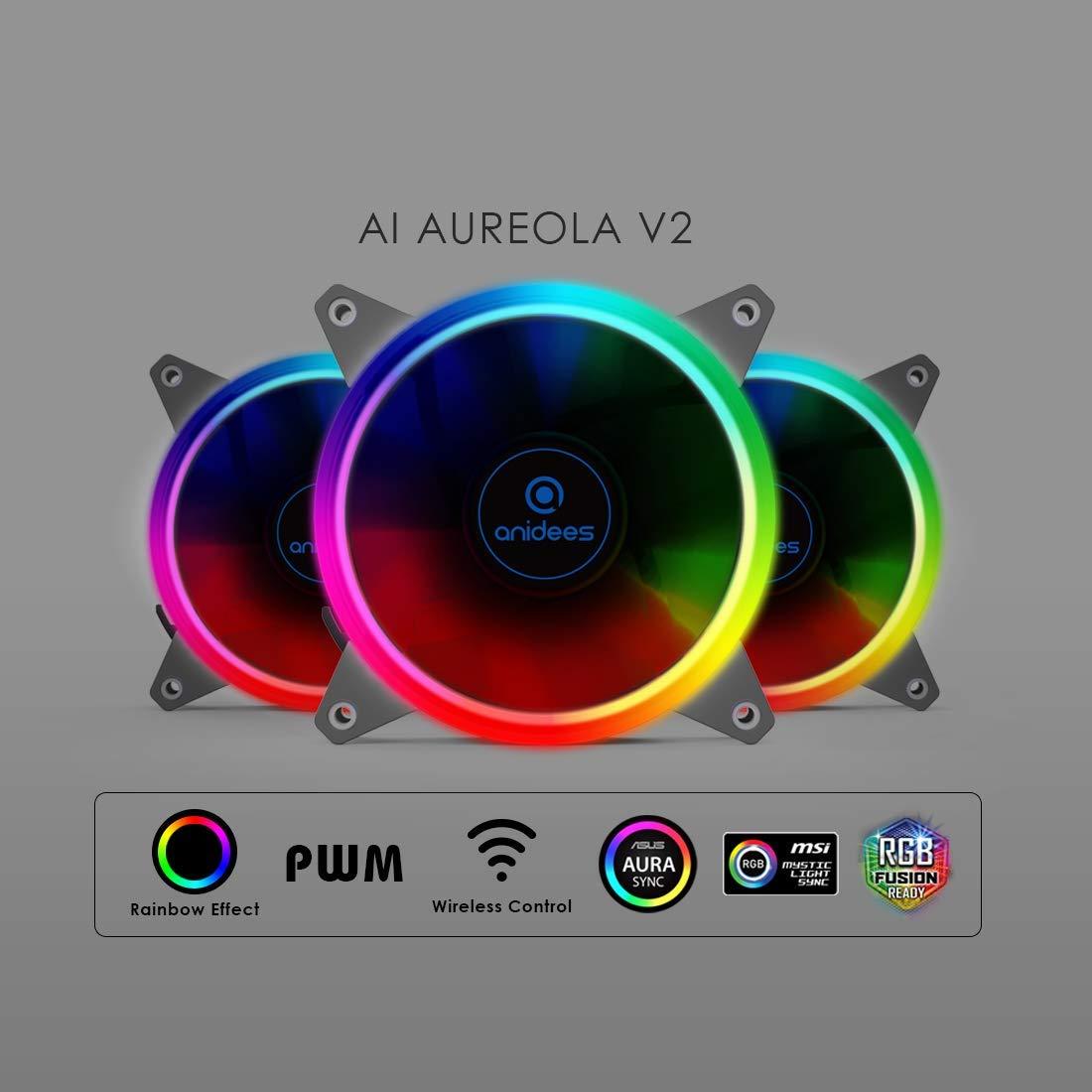 NUR PC-Fall Schwarz 5 x 120 PWM RGB L/üfter // 2 x RGB LED Streifen anidees AI Crystal XL RGB V3 Full Tower Geh/ärtetes Glas XL-ATX//E-ATX//ATX PC Gaming Geh/äuse Unterst/ützung 480//360-K/ühler
