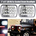 7X6 LED Headlamp Sealed Dual Beam Rectangular Headlight 90W for Jeep Wrangler YJ 1987-1995 – 6000K Super Bright White Lights Assembly Conversion Kit H6014 H6052 H6054 6054 - 2 Yr Warranty (Pair)