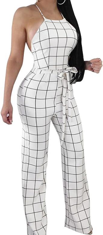 Women/'s Plaids Print Club Party Cocktail Casual Jumpsuit Wide Leg Pants Trousers