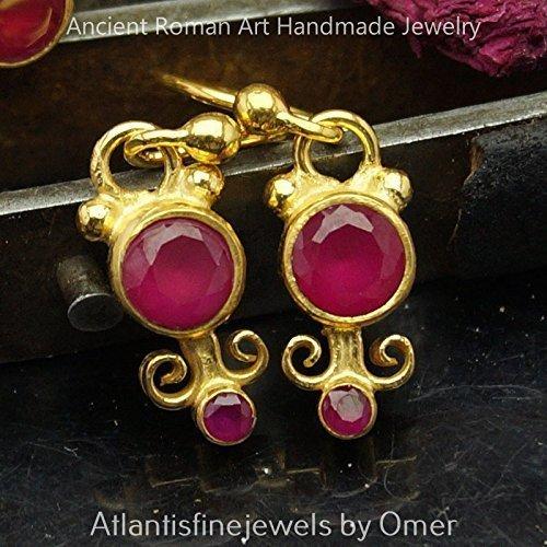 Red Topaz Hook Earrings 925 Sterling Silver 24k Gold Vermeil Handcrafted Turkish (Sterling Vermeil Earrings)