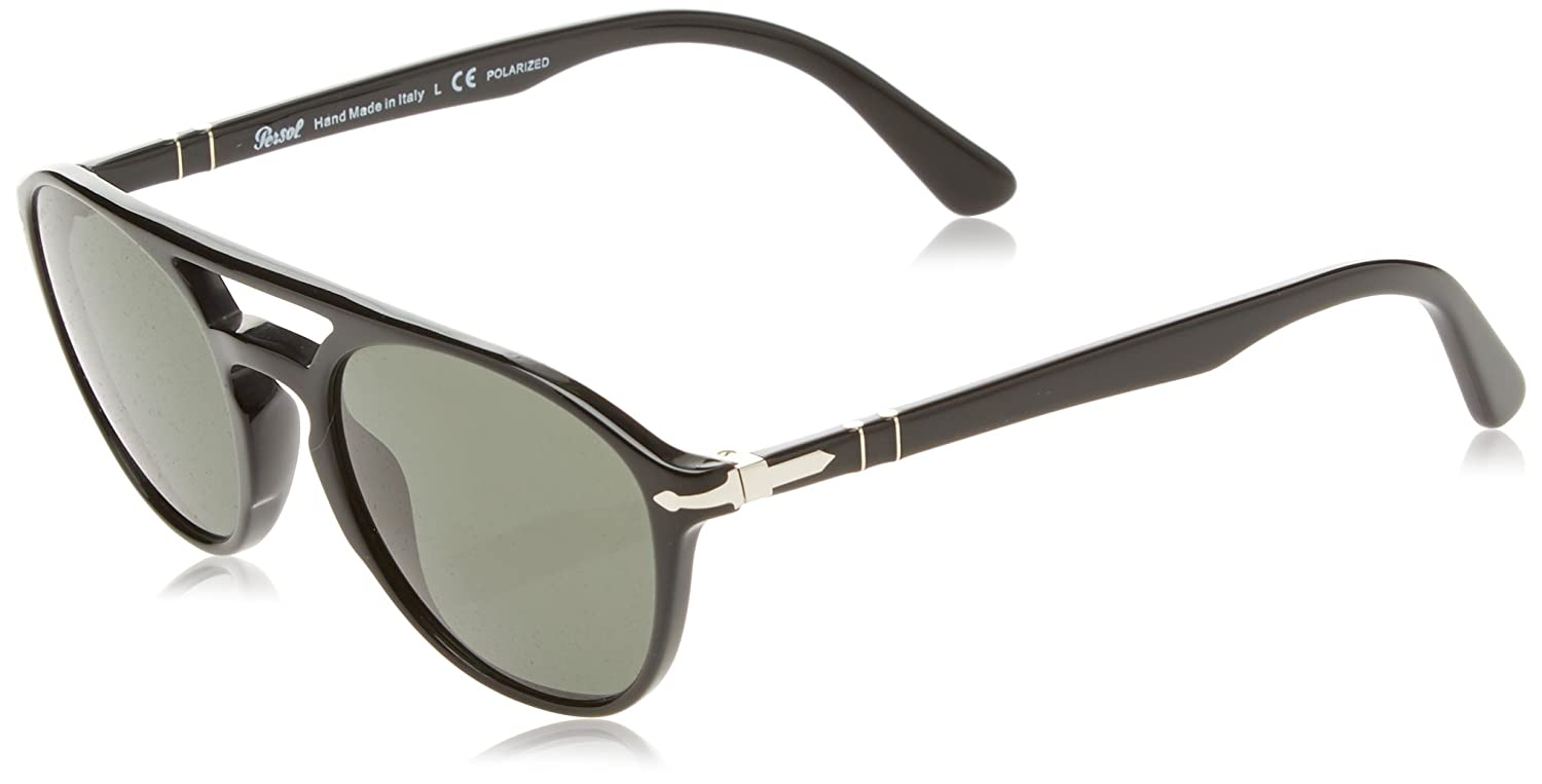 cfaf8a5787 Amazon.com: Persol Mens Sunglasses Black/Green Acetate - Polarized - 52mm:  Persol: Clothing