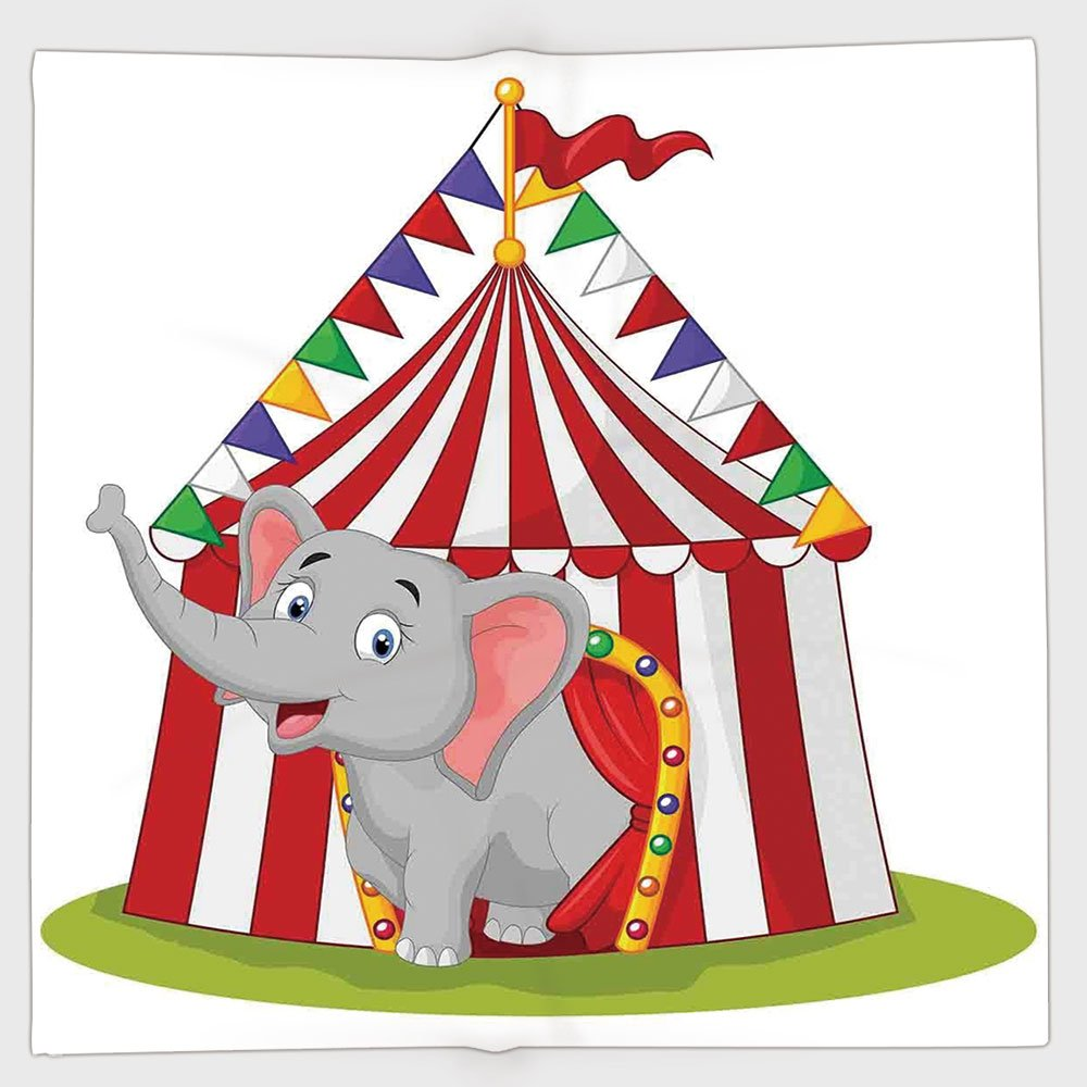 Cotton Microfiber Hand Towel,Circus Decor,Illustration of Happy Elephant in Colorful Circus Tent Carnival Entertainment,for Kids, Teens, and Adults,One Side Printing
