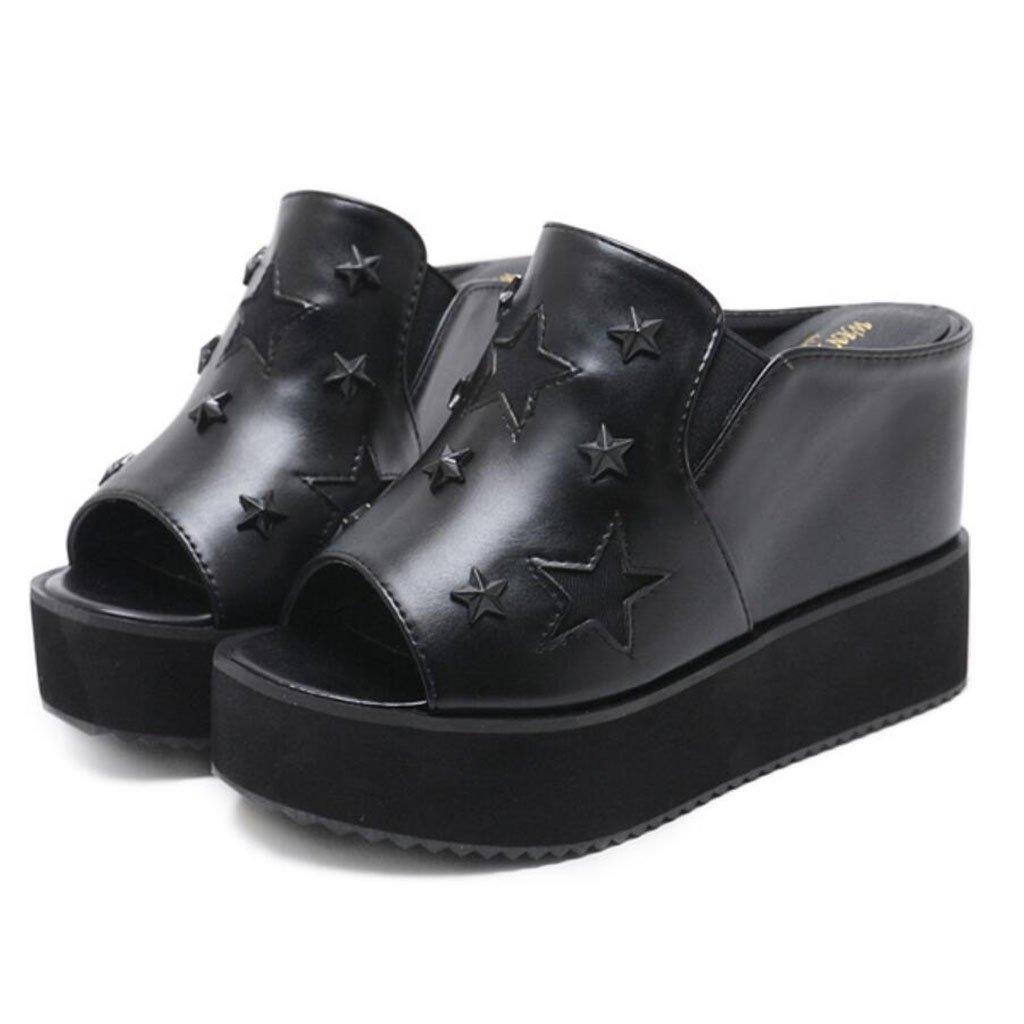 GAOLIXIA Sandalias de dedo del pie abierto de la PU Zapatillas de verano con suela gruesa Zapatos de tacón alto de la moda Zapatos cómodos al aire libre de la estrella de la comodidad Negro Plata blanco ( Color : Negro , tamaño : 36 )