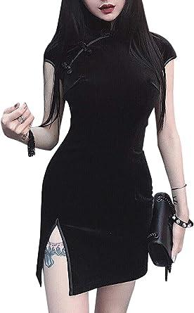 Mujeres Sexy Cheongsam Manga Corta Bodycon Vestido De Terciopelo Mejorado Ropa China
