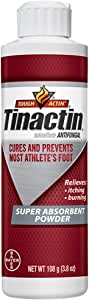 Tinactin Athlete's Foot Super Absorbent Powder, Tolnaftate 1% Antifungal AF Treatment, Proven Clinically Effective Treatment of Most Athlete's Foot, Keeps Feet Dry, 3.8 Ounces (108 Grams) Bottle