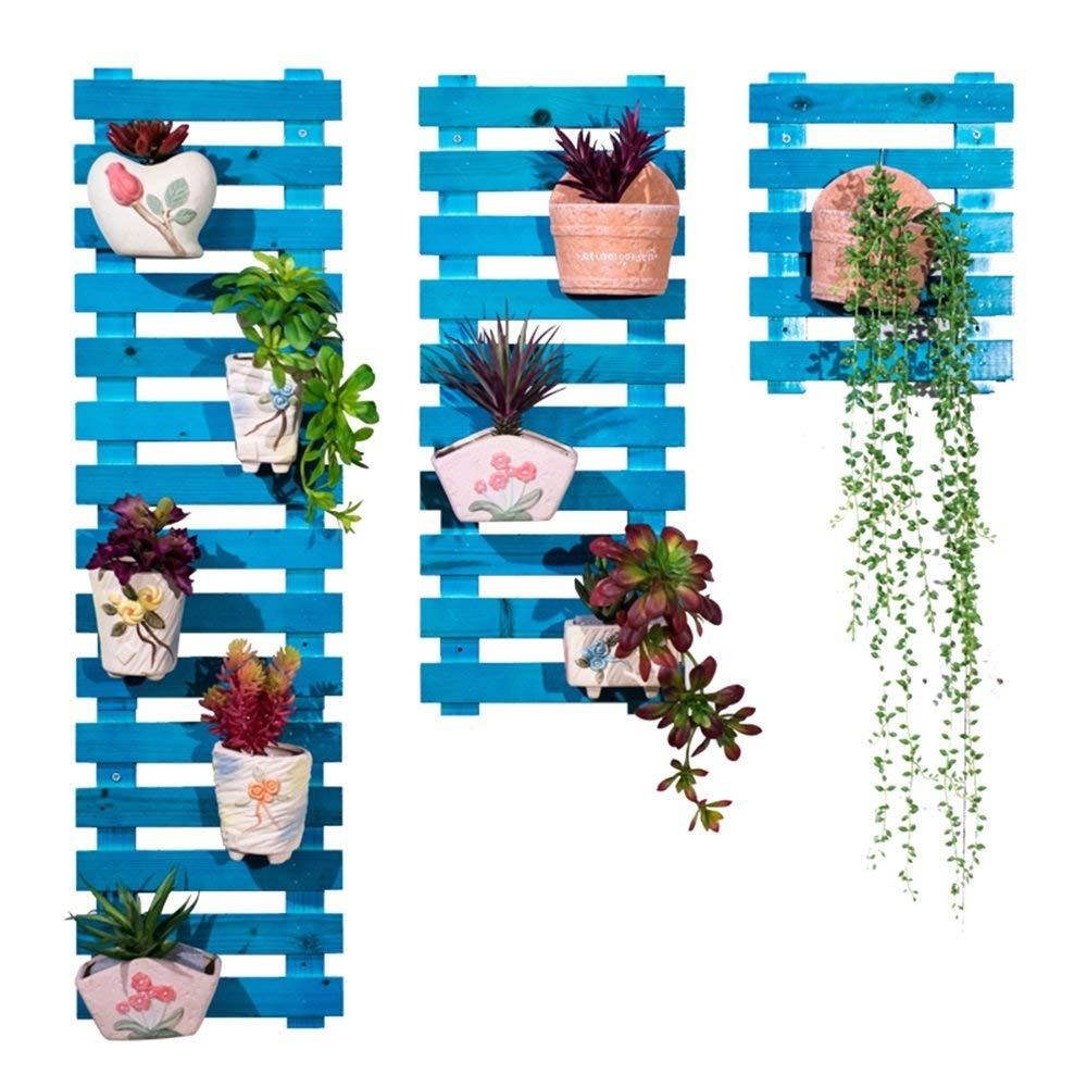 WI Flower Stand-Flower Rack Wall-Mounted Solid Wood Multilayer Foldable Flower Pot Rack Living Room Green Plants Shelf,2530cm,Blue by WI