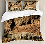 Ambesonne Africa Duvet Cover Set King Size, Nile Crocodile Swimming in the River Rock Cliffs Tanzania Hunter Geography Print, Decorative 3 Piece Bedding Set with 2 Pillow Shams, Brown Tan