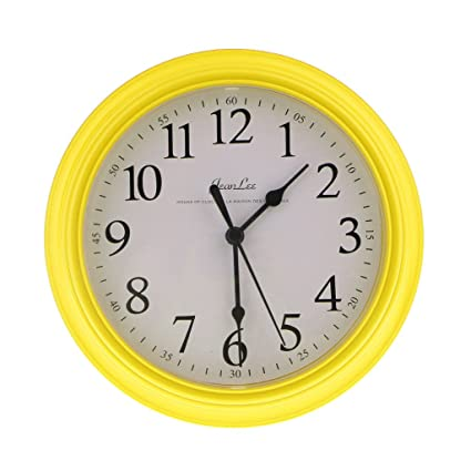 Baoblaze Silent Wall Clock 9 Inch Non-ticking Battery Operated Round Clock - Yellow