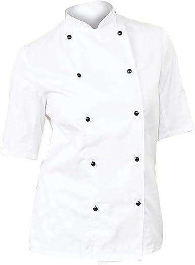 Dennys - Chaqueta de Chef/cocinera Ligera de Manga Corta para Mujer (Paquete de 2): Amazon.es: Ropa y accesorios