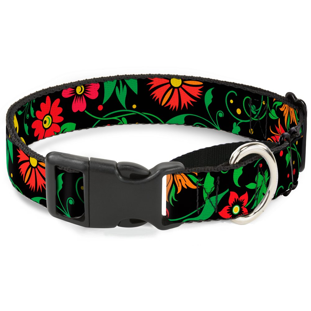1\ Buckle-Down Floral Collage2 Black Red orange Green Martingale Dog Collar, 1  Wide-Fits 15-26  Neck-Large