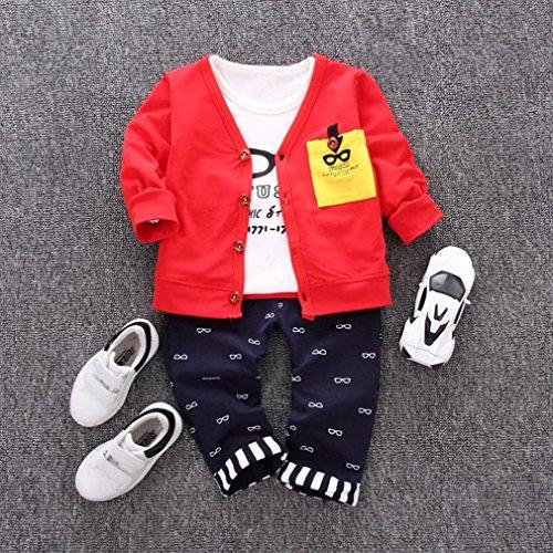 Omiky® Kleinkind scherzt Baby-Ausstattungs-Druck-T-Shirt Tops + Hosen + Mantel-Wolljacke-Kleid-Satz Rot