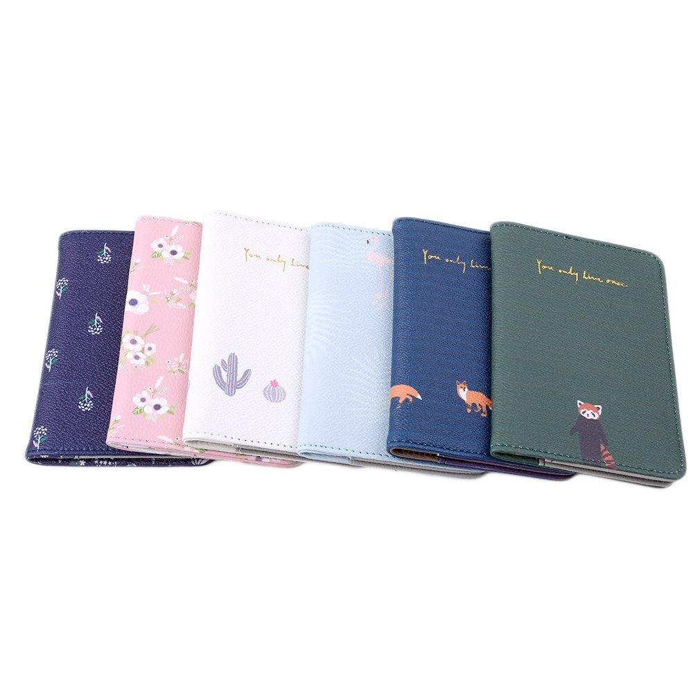 Lalang Passport Holder Flamingo Passport Cover Case for Men and Women blue