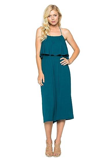 214c13230703 Amazon.com  Annabelle Women s Halter Tube Top Wide Leg Midi Jumpsuit Coral  Blue Small J8003  Clothing