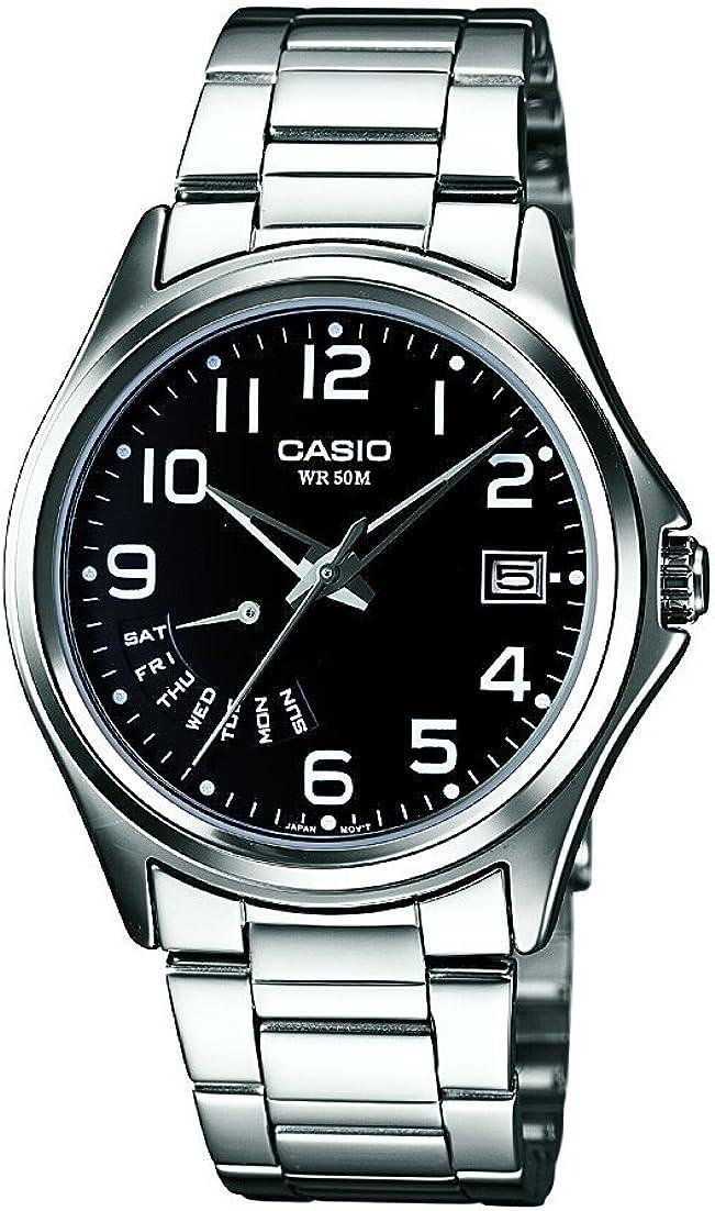 CASIO MTP-1369D-1BVEF - Reloj analógico de Cuarzo con Correa de Acero Inoxidable para Hombre, Color Negro/Plateado