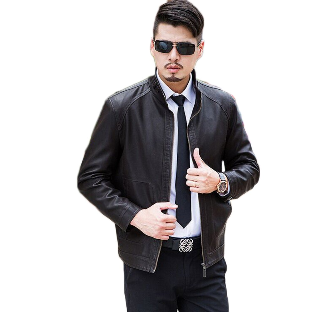 Love Dress Mens Leather Jacket Spring and Autumn Warm Coats Brown XXL