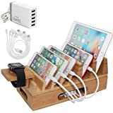 Pezin & Hulin Bamboo Charging Station Holder with 5 Port USB Charger, Watch Stand, 5 x Charge Cable, Wood Docking Stand Elect