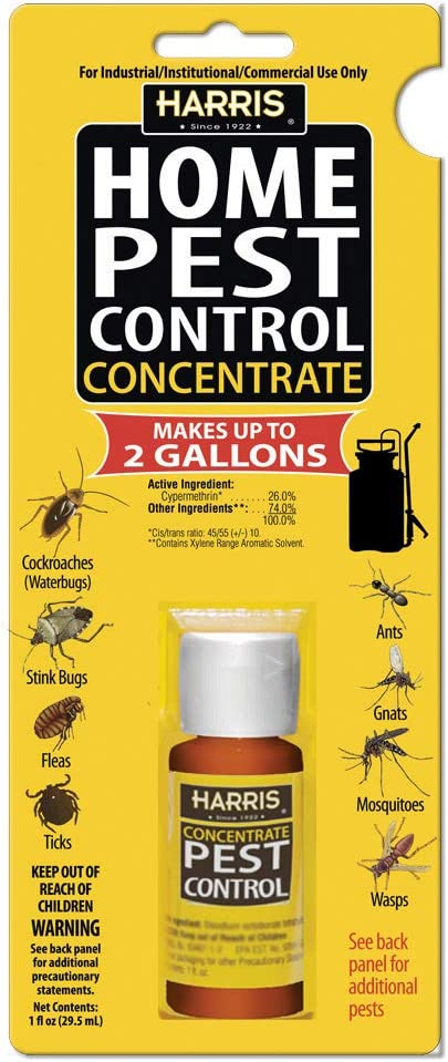 HARRIS Home Pest Control, 2-Gallon Concentrate - Kills Roaches, Ants, Stink Bugs, Fleas, Ticks, Gnats, Mosquitos, Wasps and More