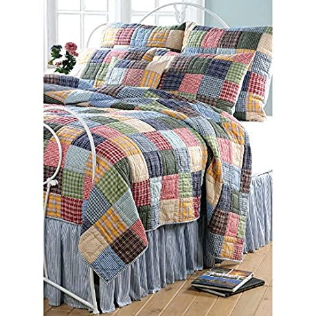 2 Piece Patchwork Geometric Pinstripes Patterned Reversible Quilt Set Twin Size Featuring Tropical Rustic Vibrant Geo Checkered Bedding Whimsy Modern Style Stylish Bright Checks Design Multicolor