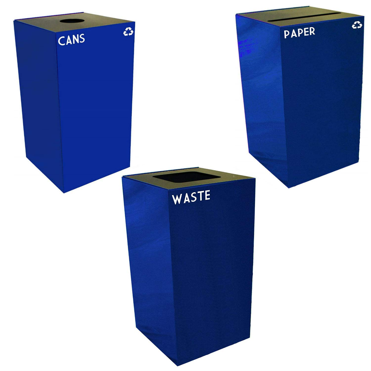 Witt Industries Steel 32-Gallon Geo Cube Recycling Container, Round Opening, Legend Cans, Slot Opening, Legend Newspaper and Square Opening, Legend Waste Square, Blue.