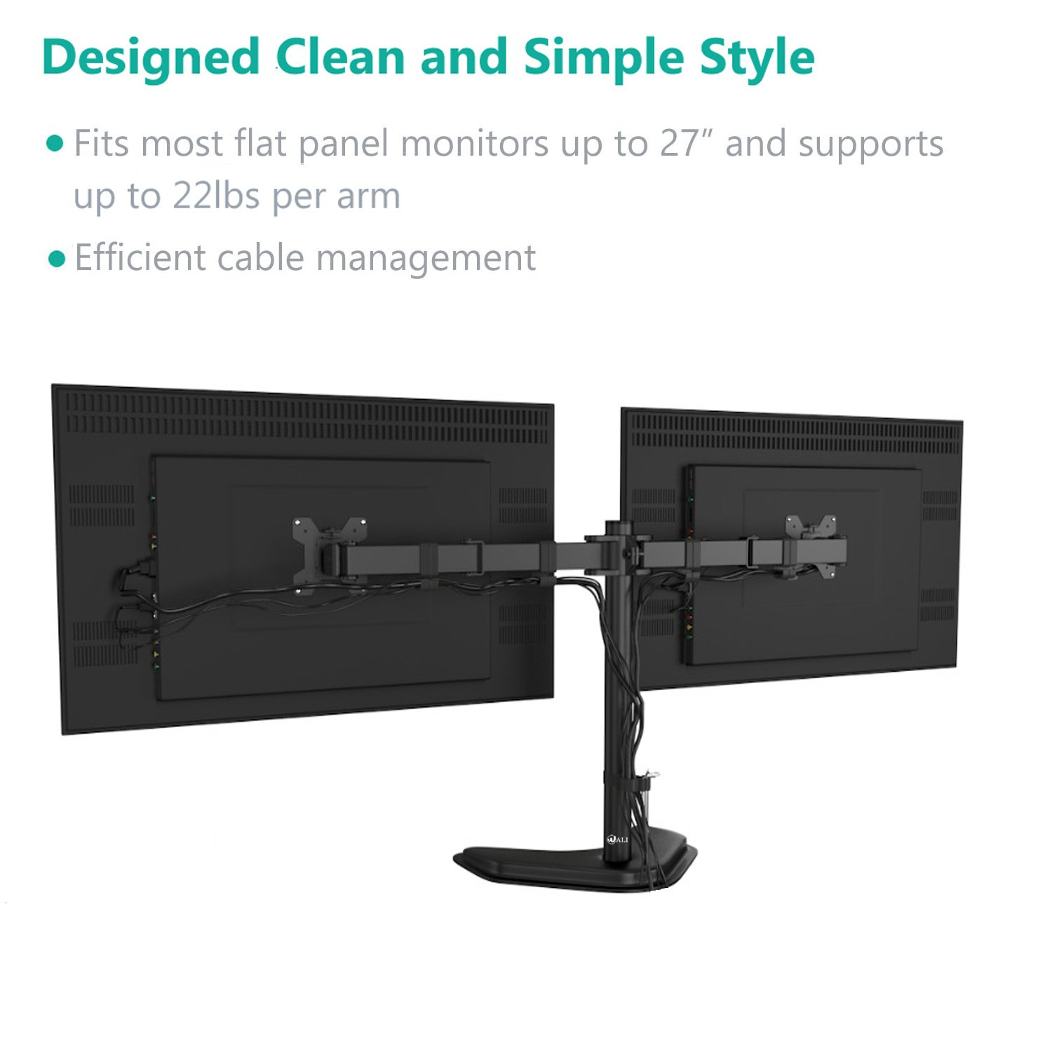 """WALI Free-Standing Dual LCD Monitor Fully Adjustable Desk Mount Fits Two Screens up to 27"""", 22 lbs. Weight Capacity per Arm (MF002), Black by WALI (Image #2)"""