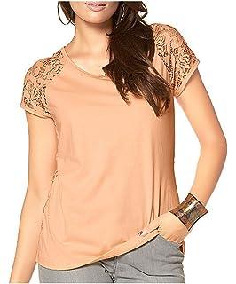 f90fdf8ee24a57 Aniston Shirt edles Damen T-Shirt mit Glanzoptik Kurzarm Silber ...