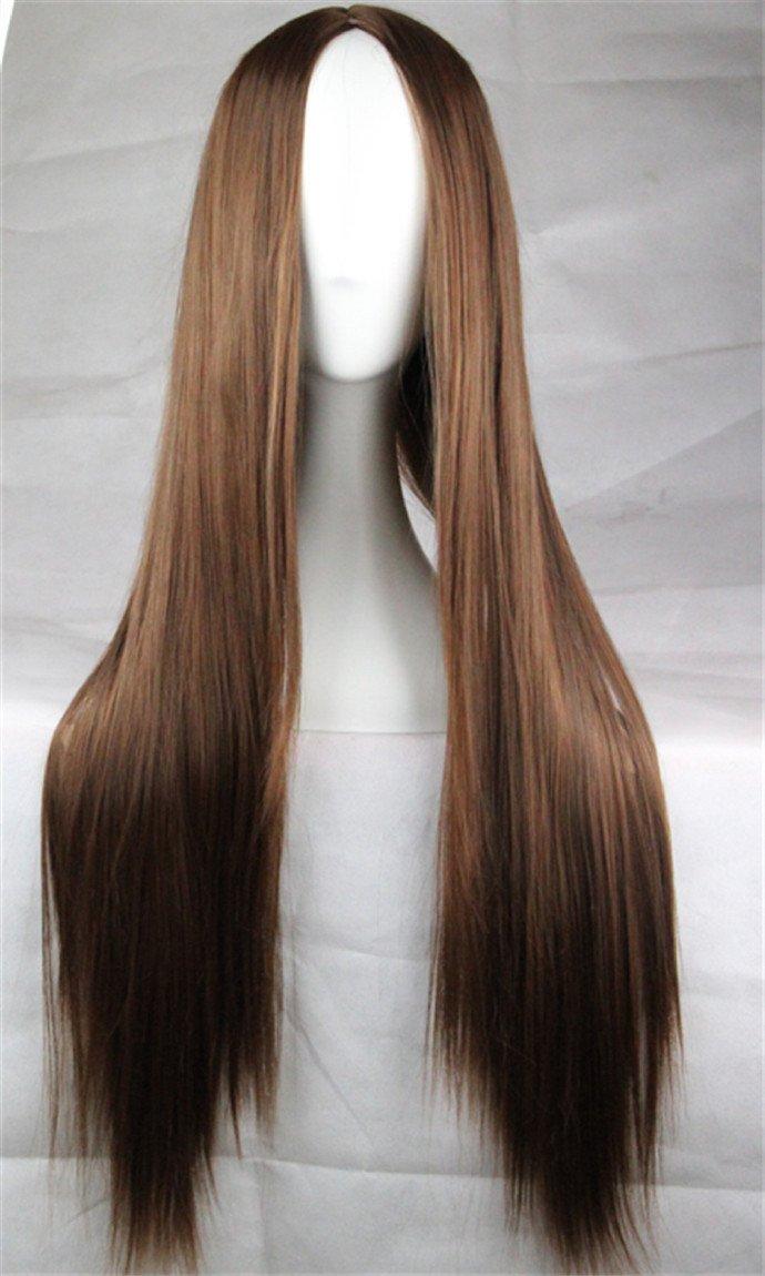 Langhaar Glatte Per/ücke mit vorner Spitze Ombre Straight Spitze-Front-Per/ücke Cosplay Kostueme Frauen 75cm Blond