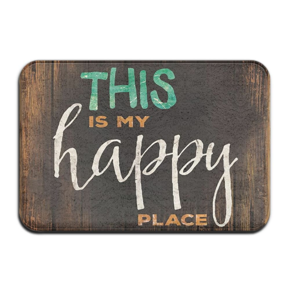 This Is My Happy Place Outdoor Rubber Doormat For Front Door Duty Outside Shoes Scraper Floor Door Mat For Porch Garage High Traffic Non Slip Entrance Rug Low Profile Carpet Home Decor 40x60cm