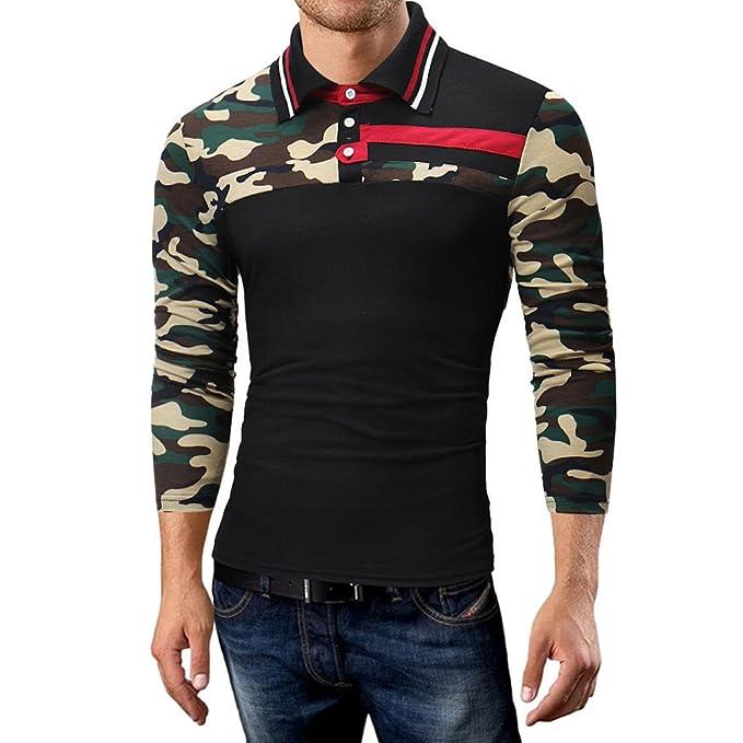 02983e4b07 Hot Sale Men Polo Shirts vermers Fashion Men's Camouflage Joint Casual Slim Long  Sleeve T Shirt