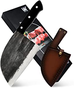 Full Tang Butcher Knife Handmade Forged Kitchen Chef Knife High Carbon Clad Steel Butcher Cleaver with Leather Knife Sheath
