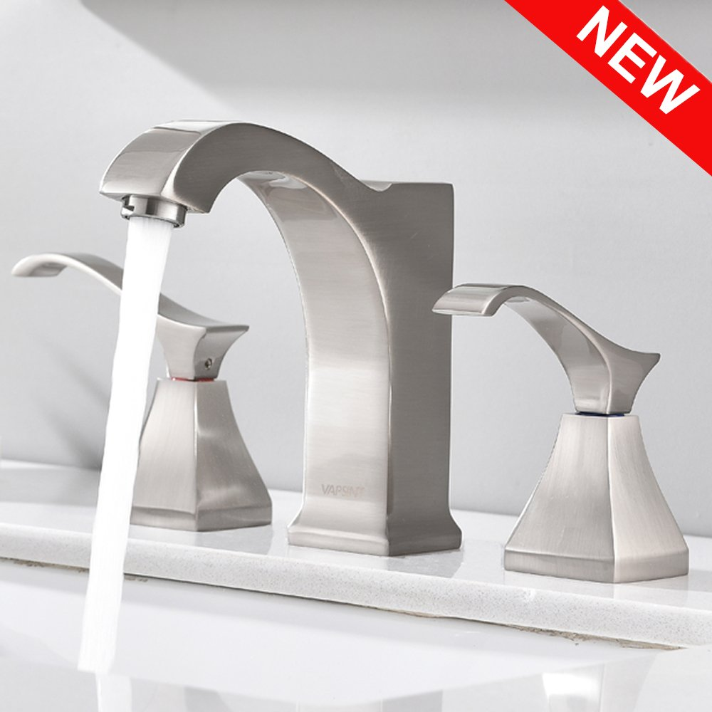VAPSINT Commercial Stainless Three-Hole Brushed Nickel WideSpread Bathroom Faucet, Double Handle Bathroom Sink Faucets
