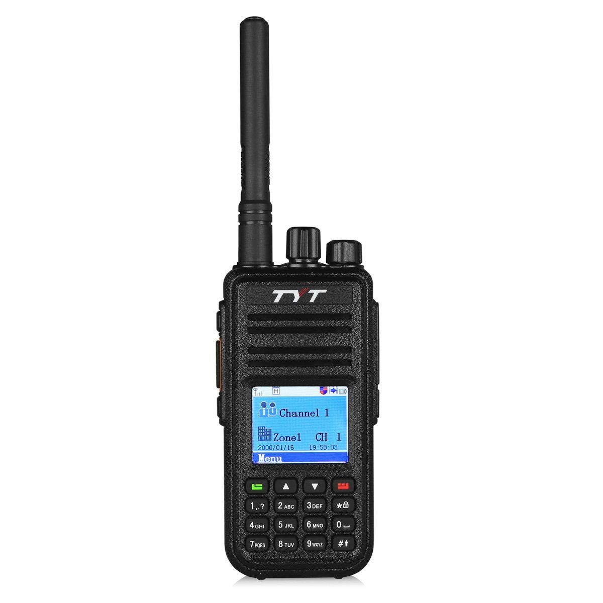TYT Tytera MD-380 DMR Digital Radio, 400-480UHF, Up to 1000 Channels, with Color LCD Display, Programming Cable and 2 Antenna (High Gain Antenna in cluded), Black