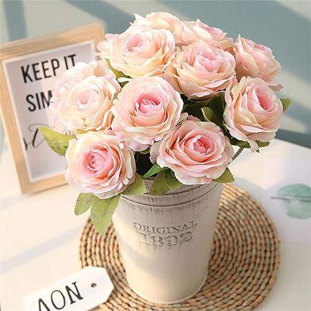 Astarc Rose 12 Capitule Petits Bouquets De Roses Frais Fleur De Mariage Décoration Murale Fleurs Artificielles Parti Home Decor D Anniversaire Jardin