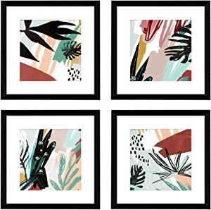 ArtbyHannah 10 x 10 Inch 4 Panels Wall Art Framed Poster Black Picture Frame Collage Set with Mat Modern Abstract Wall Art Décor with Tropical Botanical Plant Prints for Gallery Wall Kit Black