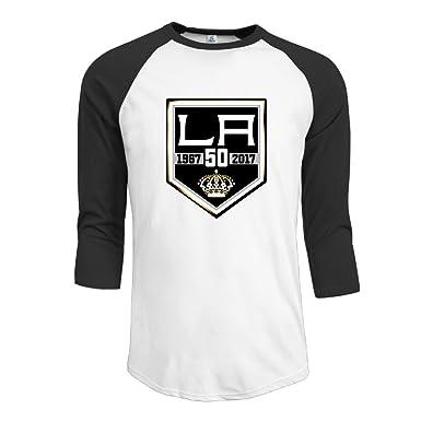 newest 7c6d6 49f86 Amazon.com: LA Kings 50th Anniversary Logo Youth 3/4 Sleeve ...