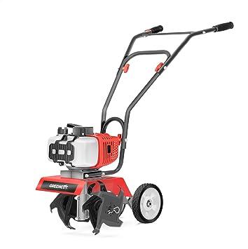Greencut GTC9063 - Motocultor/motoazada compacta con motor de gasolina 65cc y 3,7cv, superficie de trabajo recomendada de 10m2