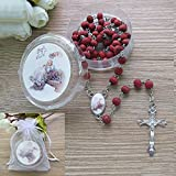 Baptism Rose Petal Scented Red Rosary Favor - 12 PCS Wood Rosaries with Individual Gift Box and Bags/Recuerdos de mi Bautizo Christening for Boy Girl