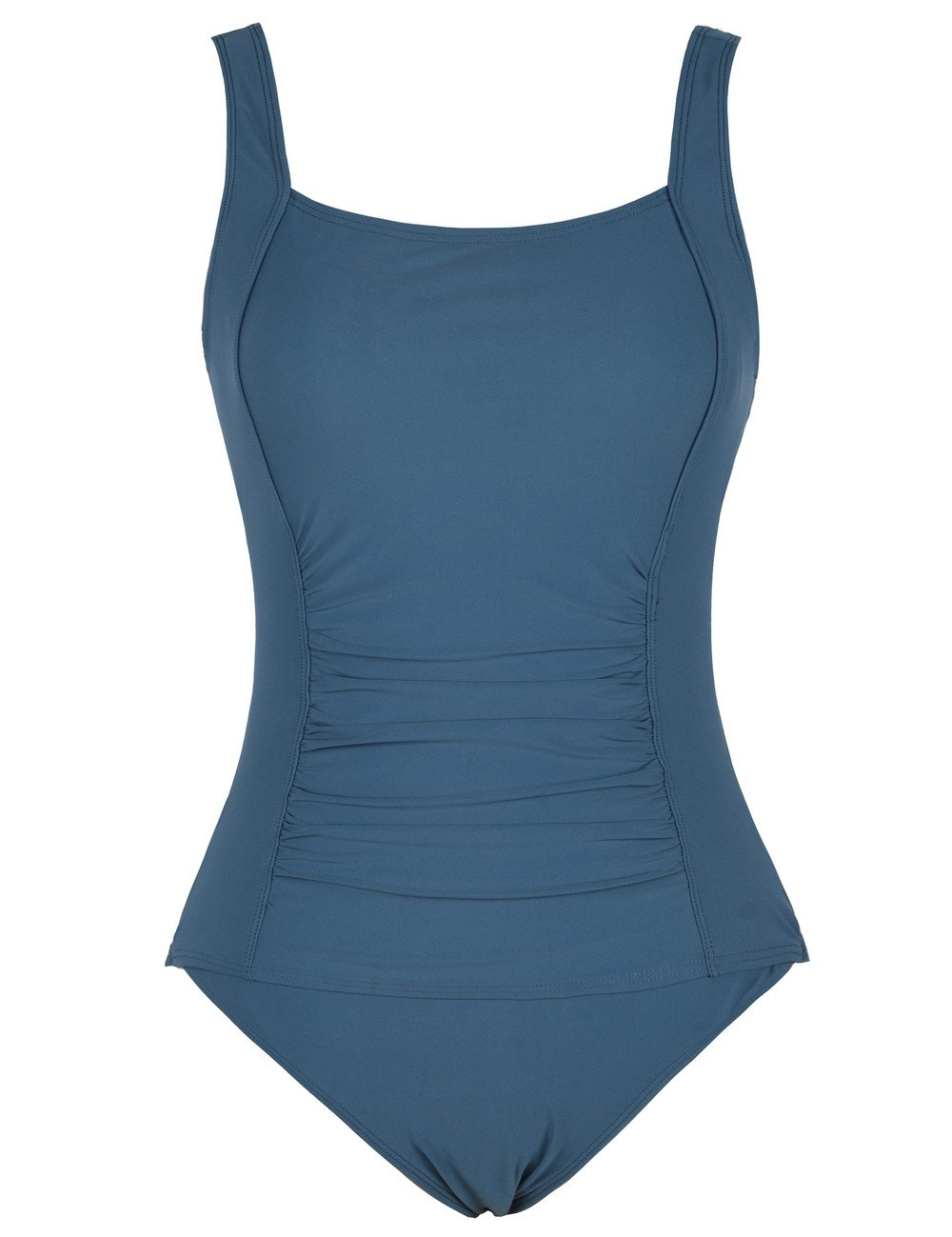 Firpearl Women's Retro One Piece Bathing Suit Ruched Tummy Control Swimsuit Aquamarine Blue US10