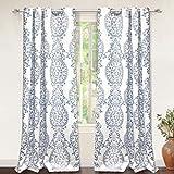 "#2: DriftAway Samantha Thermal/Room Darkening Grommet Unlined Window Curtains, Floral/Damask Medallion pattern, Set of Two Panels, each 52""x84"" (blue)"